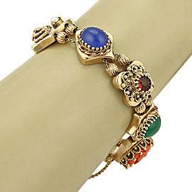 Estate Multicolor Gemstone 14k Yellow Gold 8 Slide Charms Bracelet