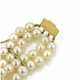 Estate 14k Yellow Gold Multi-Strand 7mm Pearl Bracelet
