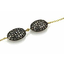 Gurhan Pastiche 24k Gold Black Rhodium Silver Sliced Diamond 9 Station Necklace