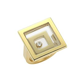 Chopard Happy Spirit Floating Diamond 18k Yellow Gold Double Square Ring Size 6