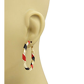 Red & Black Enamel Ribbon Hoop 14k Yellow Gold Earrings