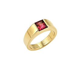 Cartier Tank Pink Tourmaline 18k Yellow Gold Ring Size 50