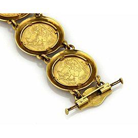 Sovereign George V St. George 22k Gold Coin & 20k Gold Enamel Frame Bracelet