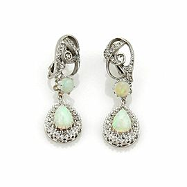 Rose Cut Diamond & Opal 14k Gold Drop Dangle Clip On Earrings