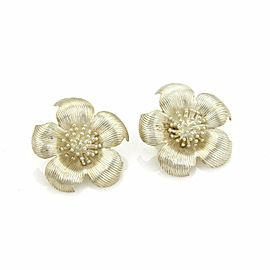 Tiffany & Co. Vintage Sterling Silver Large Dogwood Flower Clip On Earrings