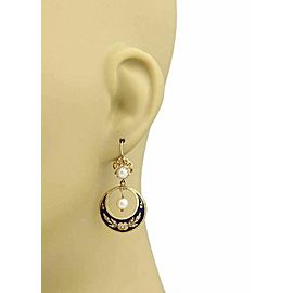 Estate Pearl & Blue Enamel Floral Drop Dangle 14k Yellow Gold Earrings