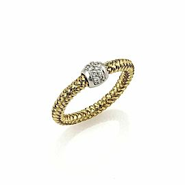 Roberto Coin Primavera Diamond 18k Yellow & White Gold Band Ring - Size 6.25