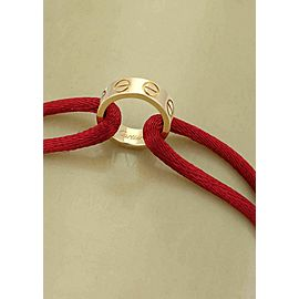 Cartier Love 18k Yellow Gold Ring Charm Red Cord Charity Bracelet