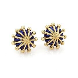 Tiffany & Co. Schlumberger Blue Enamel 18k Gold Fancy Post Clip Earrings