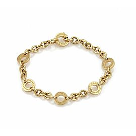 Bulgari 18k Yellow Gold 6 Engraved Circle Station Chain Bracelet