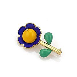 Bibigi Diamond Multicolor Enamel 18k Yellow Gold Flower Brooch