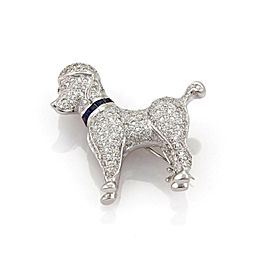 Adorable 1.62ct Diamond & Sapphire 18k White Gold Poodle Dog Brooch Pin