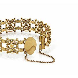 Estate 18k Yellow Gold 18mm Wide Open Fancy Design Bangle Bracelet