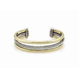 David Yurman 18k Yellow Gold Sterling Silver Wide Triple Band Cuff Bracelet