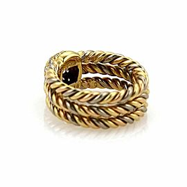 Cartier Diamond 18k Tri-Color Gold 3 Cable Wire Stack Band Ring Size 5.0