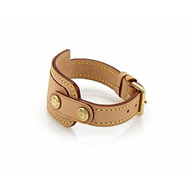 Louis Vuitton Cowhide Tan Leather Fancy ID Strap Belt Buckle Bracelet