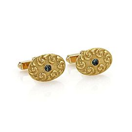Tiffany & Co. Vintage Blue Sapphires 18k Yellow Gold Fancy Oval Cufflinks