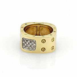 Roberto Coin Pois Moi Pave Diamonds 18k Yellow Gold Wide Band Ring - Size 6.5