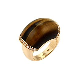 Roberto Coin Diamond & Tiger's Eye 18k Rose Gold Dome Ring Size 6.5