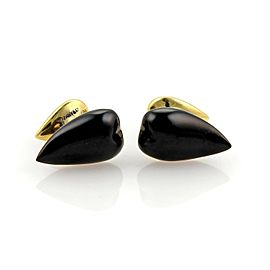 Tiffany & Co. Peretti Almond 18k Yellow Gold Onyx Stud Cufflinks