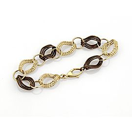 14k Two Tone Gold Fancy Textured Link Bracelet