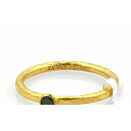 Gurhan Skittle 24k Gold & Black Diamond Hammered Texture Ring Size 6