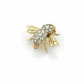 Estate 14k Yellow Gold 0.70ct Diamond Bee Brooch Pin