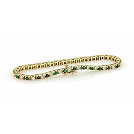 Estate 3.30ct Diamonds & Emerald 14k Yellow Gold Tennis Bracelet