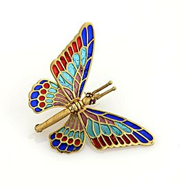 Estate Multi-Color Enamel Plique-_-jour Movable Butterfly 18k Gold Pin Brooch