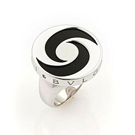 Bulgari Onyx Spinning Optical 18k White Gold & Stainless Steel Ring Size 5.75
