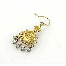 Becky Kelso Moonstone & Grey Pearls 14k Yellow Gold Drop Dangle Earrings