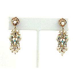 Victorian Pearls & Enamel 14k Yellow Gold Drop Dangle Earrings
