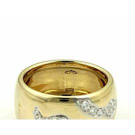 Pomellato 18k Yellow Gold & Diamond Arrow Design Wide Dome Band Ring