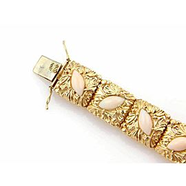 Estate 14k Yellow Gold Angel Skin Coral Floral Square Link Bracelet