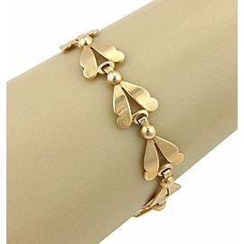 Leaf & Bead 14k Yellow Gold Link Bracelet