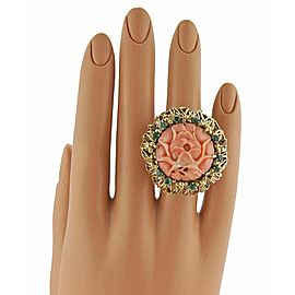 Estate J. Auen 14k Yellow Gold Coral & Emerald Large Flower Ring-Size 6.25