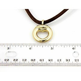 Movado 18k Yellow Gold Heart Pendant Leather Cord Necklace