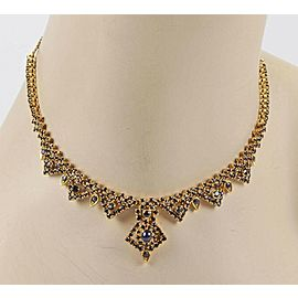 "Estate Elegant 22k Gold Sapphire Drop Necklace -14.5"" Long!"