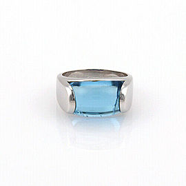 Bulgari Tronchetto Blue Topaz 18k White Gold Ring Size 5