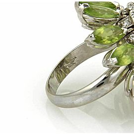 Estate 5.00ct Peridot & Diamond 18k White Gold Movable Ring