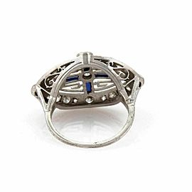 Art Deco Diamond & Sapphire Platinum Cross Design Milgrain Ring