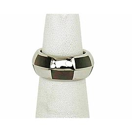 Mauboussin Mother of Pearl Inlay 18k White Gold 9mm Band Ring Rt. $3,100