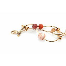 Faro 14k Rose Gold Coral & Carnelian Curved Link Fancy 3 Strand Bracelet
