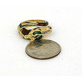 Estate Diamond & Enamel Horse Bypass 18k Yellow Gold Ring