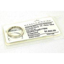Heart on Fire Men's Five Diamonds Channel 18k White gold ring Size 9.5