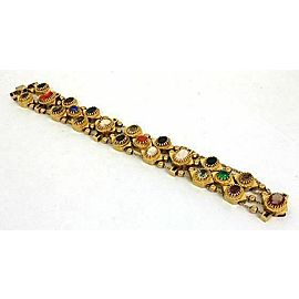 Estate Multi-Color Gems & Shell Cameo Charms 14k Gold 4 Row Slide Bracelet