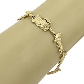 Noah's Arc & Animals 14k Yellow Gold Link Bracelet