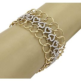 4 Carats Diamond 14k Two Tone Gold 3 Rows Hearts & Circle Link Bracelet