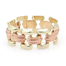"Retro 18kt Yellow & Rose Gold Fancy Link Open Design 1"" Wide Bracelet"