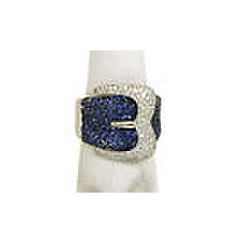 Lovely 4ct Diamonds & Sapphires 18k White Gold Buckle Design Band Ring Size 10
